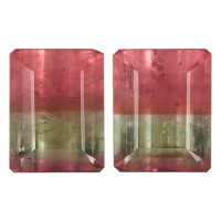 Octagon Genuine Bicolor Tourmaline Single Stone(s)