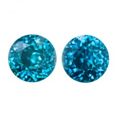 Round Genuine Blue Zircon Single Stone(s)