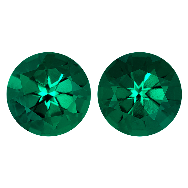 Round Lab Created Emerald Single Stone(s)