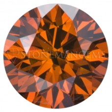 Round Genuine Orange Cognac Diamond