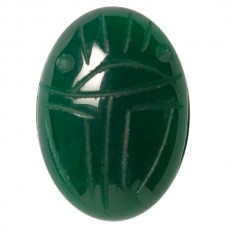 Oval Genuine Scarab Green Agate