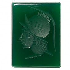 Cushion Genuine Green Agate Intaglio