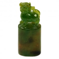 Carved Genuine Jade Lion Statue 1