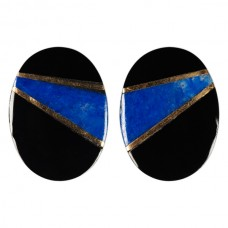 16x12mm Oval Genuine Black Onyx with Lapis and Gold Inlay