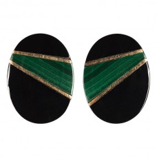 16x12mm Oval Genuine Black Onyx with Malachite and Gold Inlay