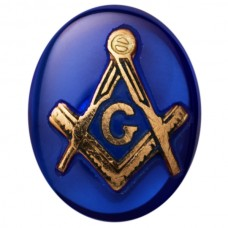 Oval Masonic Inlay Syn Blue Spinel