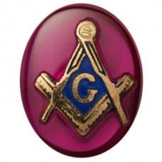 Oval Masonic Inlay Syn Ruby