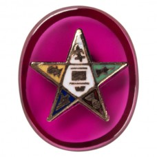 Oval Eastern Star 14k Inlay Syn Ruby
