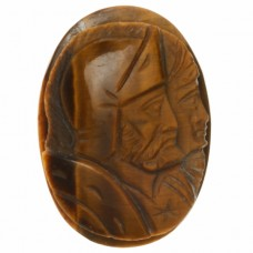 Oval Genuine Tigereye Double Head Cameo