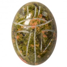 Oval Genuine Scarab Unakite