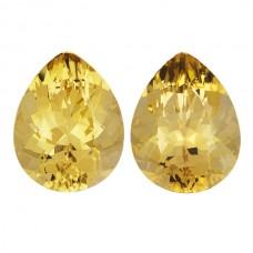 Pear Genuine Yellow Beryl Pair