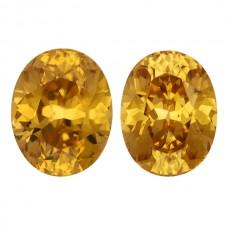 Oval Genuine Yellow Zircon Pair